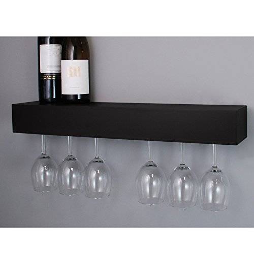 nexxt Pinot Series Shelf with Wine Glass Rack - 24x3x5-Inch - Holds 6 Wine Glasses, Black (Wall Mounted Stemware Rack compare prices)