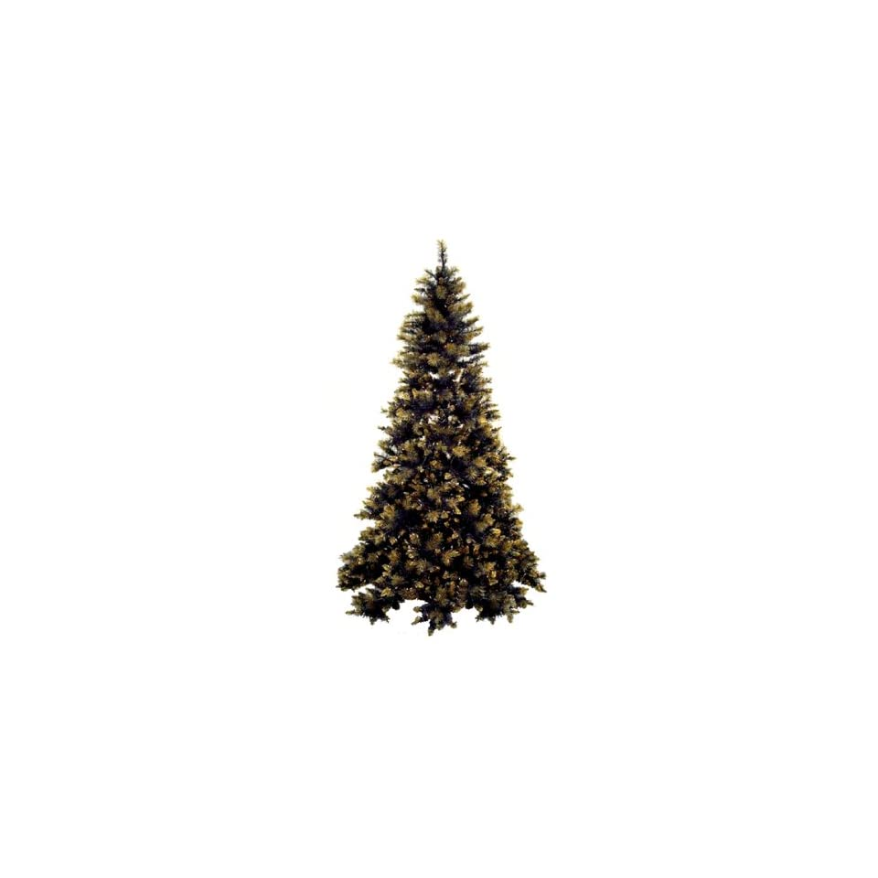 6.5 Pre Lit Full Black and Gold Artificial Christmas Tree   Clear Lights