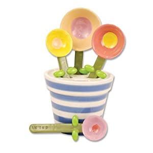 Click to buy Cool Kitchen Gadget:  Flower Pot Measuring Spoon Baking Set, Ceramic from Amazon!