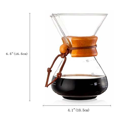 Diguo-Glass-Pour-Over-Coffee-Maker-Classic-Series-Glass-Coffeemaker-400ml14oz1-2-Cup-One-Coffee-Maker-with-Permanent-Stainless-Steel-Filter