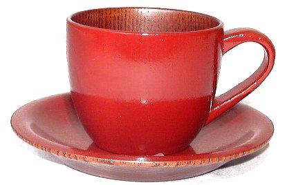 うるし長屋 お茶カフェ コーヒーカップ 古代朱 内スリ漆  23212