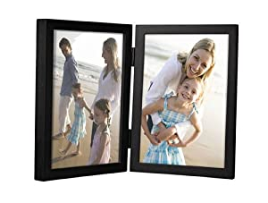 Malden International Designs Black Concept Wood Double Vertical Openings Picture Frame, 4-Inch by 6-Inch