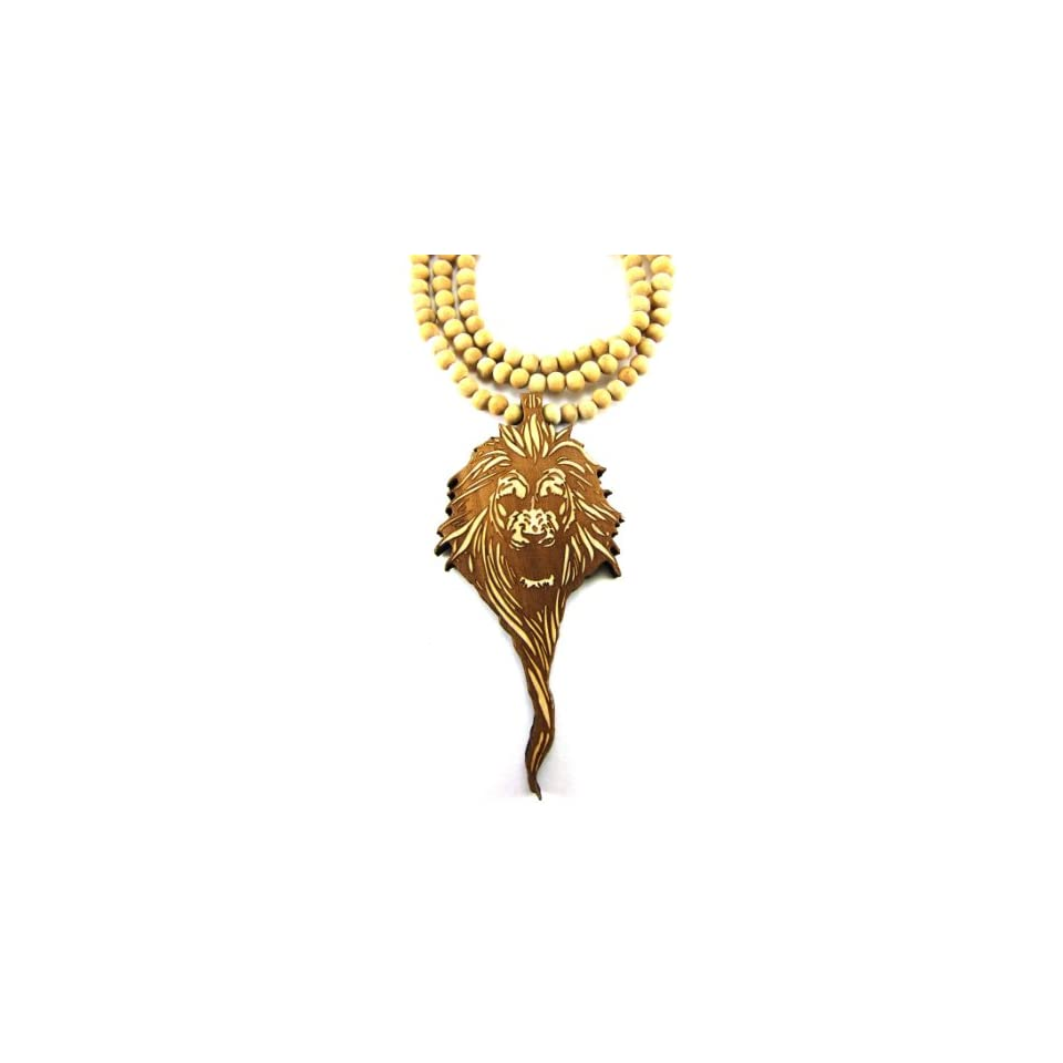 Large Wooden Lion Head Natural Good Quality Wood Pendant & Chain