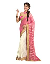 DesiButik's Stunning Pink And Off-White Viscose And Crepe Saree