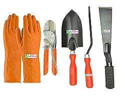 Easy Gardening - Garden Tools Kit (4Tools) + Orange Gardening Gloves - Trowel Big, 8