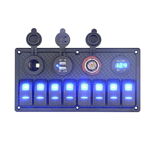 Paymenow Digital Voltmeter 12V Power Socket 8 Gang Waterproof Double USB Power Charger Adapter Flush Mount Car Auto Boat Marine LED Rocker Switch Panel Circuit Breakers for RV Car Boat (Chevy Truck Usb compare prices)