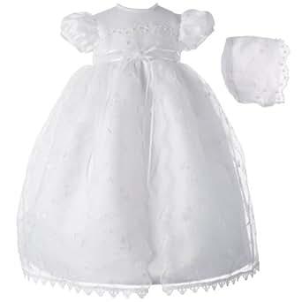 Lauren Madison baby girl Newborn Christening Baptism Skirt Over Bridal Satin Gown, White, 9-12 Months