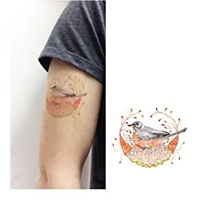 Bird in nest temporary tattoo temporary for Fake tattoos amazon