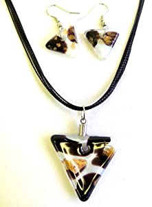 Gorgeous Glass Pendant Necklace and Dangle Earring Set - Triangle Shape, White and Black