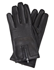 Autograph Leather Zipped Gloves
