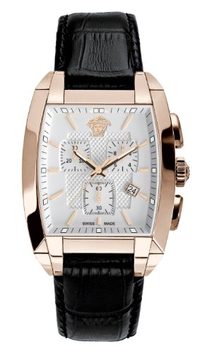 Versace Character Unisex Quartz Watch with White Dial Analogue Display and Black Leather Strap WLC80D002 S009