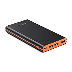 Lumsing Ultrathin Portable 3-Port USB Charger 15000mAh Premium External Battery Pack & Power Bank with Smart Charge for iPhone, iPad, Samsung Galaxy, and Android Smart Devices (Black)