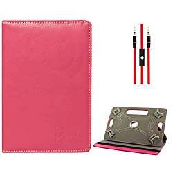 DMG Protective Flip Book Cover Stand View Case for Zen Ultratab A700 3g Tablet (Pink) + 3.5mm Flat AUX Cable with Mic