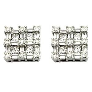 14k White 1.34 Ct Diamond Earrings - JewelryWeb