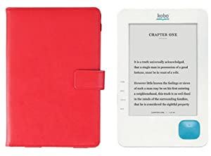 Kobo eReader Red Leather Case Folio - Real Leather (Made for official Kobo eReader) from Electronic-Readers.com