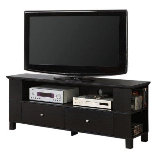 60 in. Wood TV Console w Multi-Purpose Storage in Black Finish