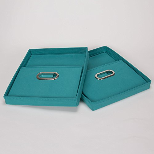 household essentials fabric storage boxes with lids and handles aqua set of 2 home garden. Black Bedroom Furniture Sets. Home Design Ideas