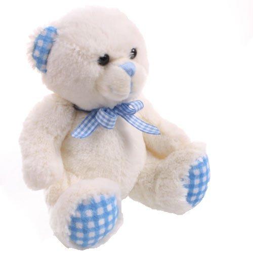 Teddybär Weiß& Blau Gingham Groß