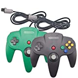 Joxde 2 Packs Joystick Classic Wired Controllers N64 Gamepad Console (Black Green 2)