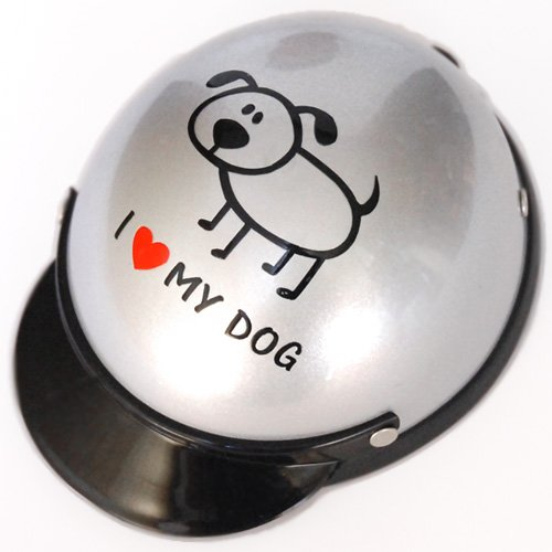 【犬用】ILOVEMYDOG×シルバー 犬用ヘルメット 犬猫用ヘルメット 帽子お散歩 お出かけ用メット ペット用品 犬猫用 アニマルグッズ ANIMAL HELMET 小型犬 愛犬