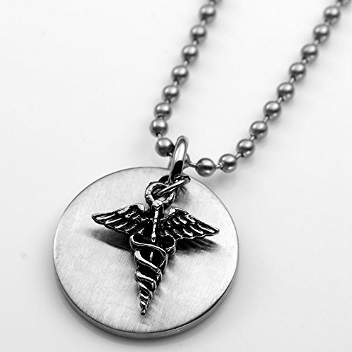 Caduceus Medical Charm Stainless Pendant & 20 1/2 Inch Chain