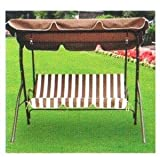 94721 GARDEN FURNITURE / PATIO 3 SEATER Hammock SWING SEAT SWINGING CHAIR IN BROWN AND WHITE