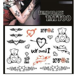 SYZ Beauty Waterproof Temporary Tattoos Lovely Heart Bear Tattoos