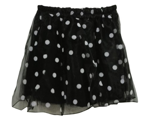 Am Clothes Sweet Girls Wave Point Organza Gauze Chiffon Mini Skirt (Black) front-906047