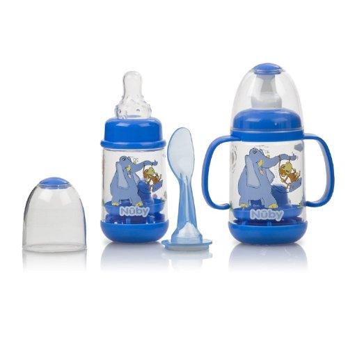 Nuby BPA FREE Infant Feeder Feeding Bottle Set, Blue (Printed Baby Bottles compare prices)