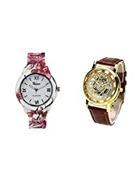 COSMIC COMBO WATCH- COLORFUL STRAP ANALOG WATCH FOR WOMEN AND BROWN ANALOG SKELETON WATCH FOR MEN - B01CGEVPWE