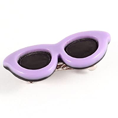 Black Purple Sunglasses Pattern Silver Tone French Clip Dogs Decor