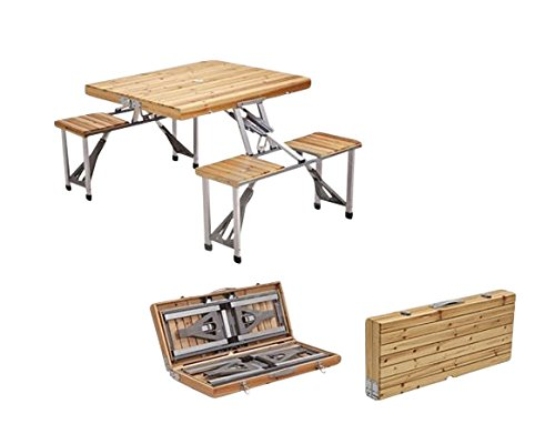 Check Out This Plixio Portable Folding Wood Picnic Table with 4 Bench Seats