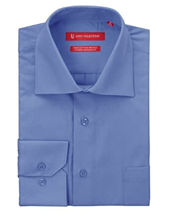 "Gino Valentino Men's Dress Shirt Pure Cotton Spread Collar Barrel Cuff (14.5"" Neck 32/33 Sleeve, Blue)"