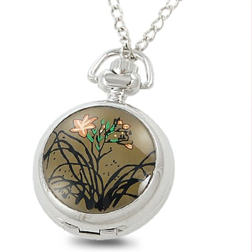 Rosallini Flowers Pattern Pocket Watch Cover Metal Chain Necklace