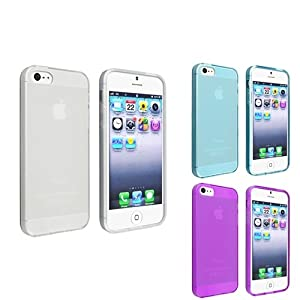 eForCity 3 Packs TPU Rubber Case Combo Compatible With Apple® iPhone® 5, Frost Clear White / Frost Clear Light Blue / Frost Clear Purple