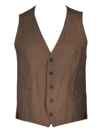 Paul Smith Waistcoat Crushed Effect With Pockets - Khaki