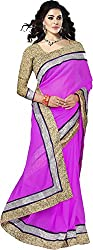 Trishulom Cloth's Online Women's Georgette Sarees With Blouse Piece (Pink)