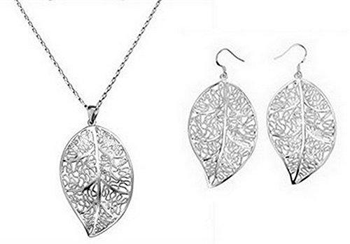 Completo set collana + orecchini foglia placcato in argento 925 parure