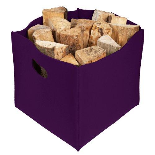 Großer Filzkorb, violett, Kaminkorb, Feuerholzkorb,