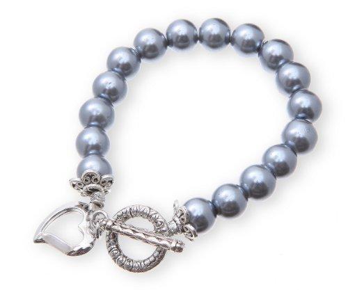 Pearl T-Bar Heart Charm Bracelet Presented In Gift Box in Metallic Grey