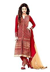 M Fab Ethnic Embroidered Red Georgette Free Size Anarkali Chudidar Salvar Suit Dress Material