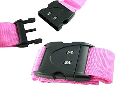 Combination Travel Luggage Strap - 2 Digit Re-settable Combination Lock - Strong Nylon Weave - Secure Your Luggage - Combination Lock Luggage Straps (pink) from We Search You Save