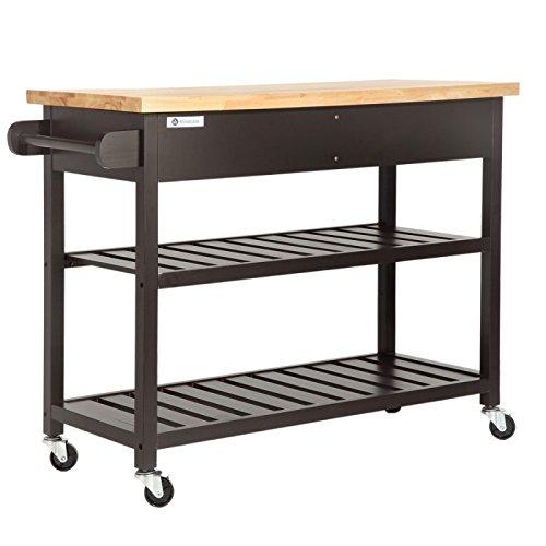Homegear Open Storage Kitchen Storage Cart Island with Rubberwood Cutting Block Brown