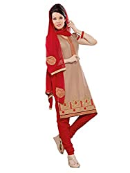 Inddus Women Copper & Red Cotton Salwar Kameez