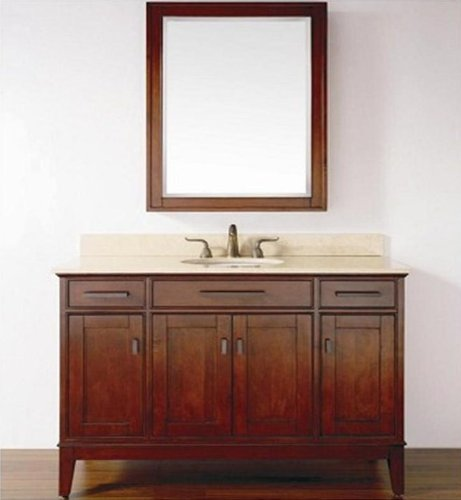 48 inches single sink vanity,cream marble top, build-in ceramic basin, medicine mirror cabinet