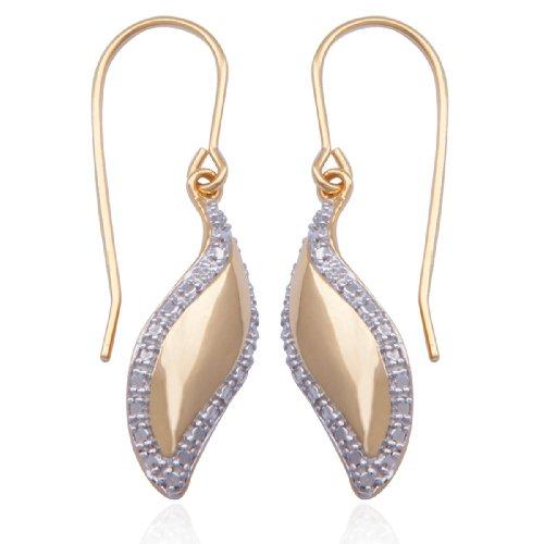 18k Yellow Gold Plated Sterling Silver Cubic Zirconia Swirl Earrings