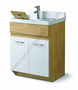 "sink ALEXANDER 24"" Utility Sink - Modern Mop Slop Tub Deep Sink Ceramic Laundry Room Vanity Cabinet Contemporary Hardwood Hard wood Oak"