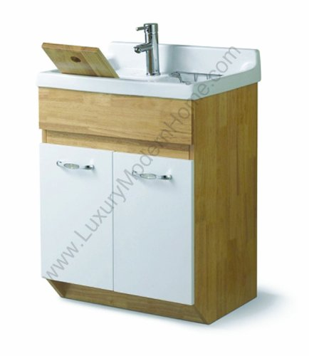 ALEXANDER Utility Sink - Modern Mop Slop Tub Deep Sink Ceramic Laundry Room Vanity Cabinet Contemporary