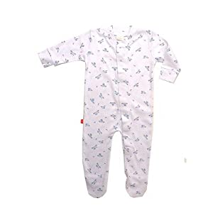 Little Farm Print Footie in Blue Size: 6M