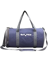 BOLSO Gym Bag (BLUE) Branded Premium Quality Carry On Sports Travel Duffel Bags With Shoulder Strap, Zippered...